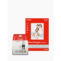 Canon CLI-551 Ink Cartridge Multipack with Canon GP-501 Glossy Photo Paper, 10 x 15cm, 10 Sheets
