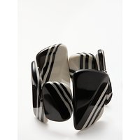 One Button Stripe Asymmetric Pebble Stretch Bracelet, Black/White