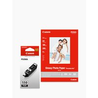 Canon PGI-550 Black Ink Cartridge with Canon GP-501 Glossy Photo Paper, 10 x 15cm, 10 Sheets