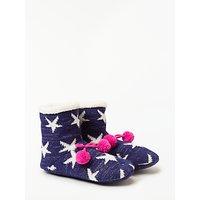 John Lewis & Partners Lurex Star Ankle Slipper Socks, Navy/Multi