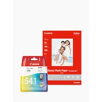 Canon CL-541 Tri-Colour Ink Cartridge with Canon GP-501 Glossy Photo Paper, 10 x 15cm, 10 Sheets