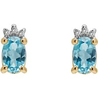A B Davis 9ct Gold Diamond And Semi Precious Stone Oval Stud Earrings, Blue Topaz