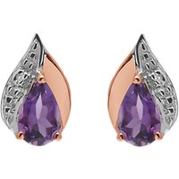 A B Davis 9ct Rose Gold Amethyst And Diamond Teardrop Stud Earrings, Multi