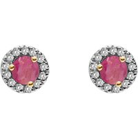 A B Davis 9ct Gold Diamond And Precious Stone Round Stud Earrings