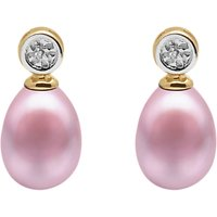 A B Davis 9ct Gold Freshwater Pearl Rub-over Diamond Drop Earrings