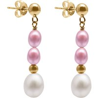 A B Davis 9ct Gold Freshwater Pearls Drop Earrings, Pink/white