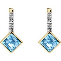 Image of A B Davis 9ct Gold Channel Set Diamonds and Princess Semi-Precious Stone Drop Earrings, Blue Topaz
