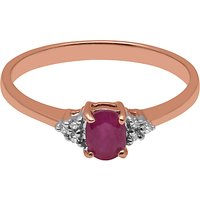 A B Davis 9ct Rose Gold Oval Ruby And Diamond Engagement Ring