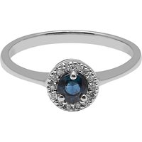 A B Davis 9ct White Gold Round Sapphire And Diamond Engagement Ring
