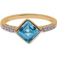 A B Davis 9ct Yellow Gold Princess Cut Topaz and Diamond Shoulder Cocktail Ring