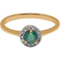 A B Davis 9ct Yellow Gold Round Emerald And Diamond Engagement Ring