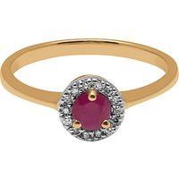 A B Davis 9ct Yellow Gold Round Ruby And Diamond Engagement Ring