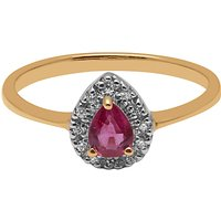 A B Davis 9ct Yellow Gold Pear Ruby And Diamond Engagement Ring