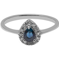 A B Davis 9ct White Gold Pear Sapphire And Diamond Engagement Ring