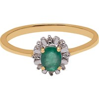 A B Davis 9ct Yellow Gold Emerald And Diamond Ring
