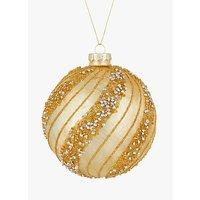 John Lewis & Partners Gold Bead Swirl Bauble, Gold