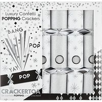 Crackertoa Luxury Christmas Crackers, Pack of 6, Silver