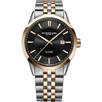 Raymond Weil 2731-SP5-20001 Mens Freelancer Automatic Date Two Tone Bracelet Strap Watch, Silver/Rose Gold