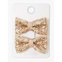 John Lewis & Partners Heirloom Collection Children's Glitter Bow Hair Clips, Pack of 2, Gold