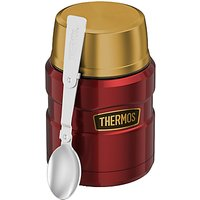Thermos King Food Flask, Stainless Steel, 470ml, Red/Gold