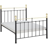 Wrought Iron And Brass Bed Co. Albert Non-Sprung Bed Frame, Double, Black