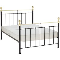 Wrought Iron And Brass Bed Co. Albert Sprung Bed Frame, Double, Black
