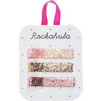 Rockahula Children's Glitter Bar Hair Clips, Pack of 3, Pink/Gold