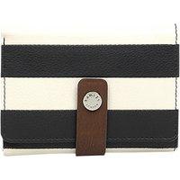 Radley Babington Stripe Leather Tri-Fold Purse, Black/White
