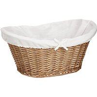 John Lewis and Partners Lined Oval Wicker Laundry Basket