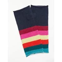Wyse London Rainbow Stripe Fingerless Cashmere Gloves, Navy/Multi
