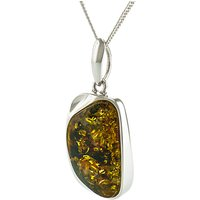 Be-Jewelled Sterling Silver Cuboid Baltic Amber Pendant Necklace, Green