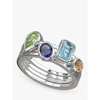 shop for Nina B Semi-Precious Stone Stacking Ring, Silver at Shopo