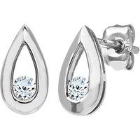 Mogul 9ct White Gold Diamond Teardrop Stud Earrings, 0.15ct