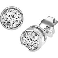 Mogul 9ct White Gold Diamond Round Stud Earrings, 0.50ct