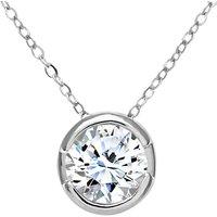 Mogul 9ct White Gold Diamond Round Pendant Necklace, 0.50ct