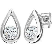 Mogul 9ct White Gold Diamond Teardrop Stud Earrings, 0.50ct