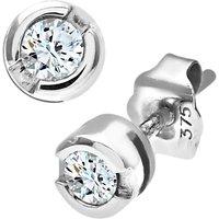 Mogul 9ct White Gold Diamond Round Stud Earrings, 0.25ct