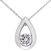Mogul 9ct White Gold Diamond Teardrop Pendant Necklace, 0.25ct