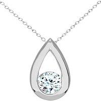 Mogul 9ct White Gold Diamond Teardrop Pendant Necklace, 0.50ct