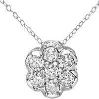 Mogul 9ct White Gold Diamond Flower Pendant Necklace, 0.15ct