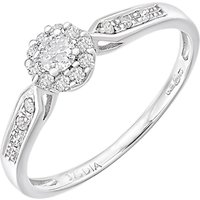 Mogul 9ct White Gold Diamond Halo Engagement Ring, 0.25ct