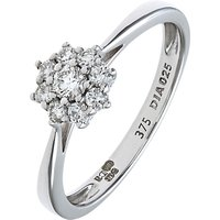 shop for Mogul 9ct White Gold Cluster Diamond Engagement Ring, 0.25ct at Shopo