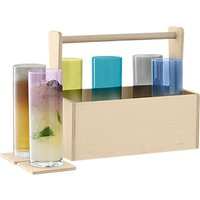 LSA International Nomad Wood Box with Highball/Beer Glasses, Set of 6, 510ml, Assorted