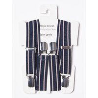 John Lewis & Partners Boys' Stripe Braces, Navy