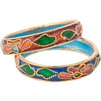 Susan Caplan Floral Enamel Double Ring Set, Multi at John Lewis Department Store