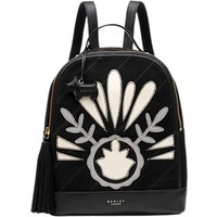 Radley Leighton Medium Leather Backpack, Black/White
