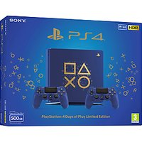 Sony PlayStation 4 Slim, Limited Edition Days of Play Console with 2x DUALSHOCK 4 Controllers, 500GB