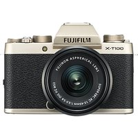Fujifilm X-T100 Compact System Camera with 15-45mm XC Lens, 4K Ultra HD, 24.2MP, Wi-Fi, Bluetooth, EVF, 3 Tiltable Touch Screen