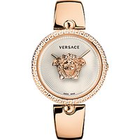 Versace VCO110017 Womens Palazzo Bangle Strap Watch, Rose Gold/White