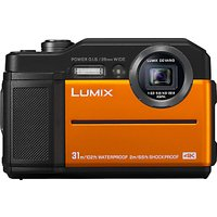 Panasonic Lumix DC-FT7 Waterproof, Freezeproof, Shockproof, Dustproof Compact Digital Camera, 4K UHD, 20.4MP, 4.6x Optical Zoom, Wi-Fi, 3 LCD Screen, Orange